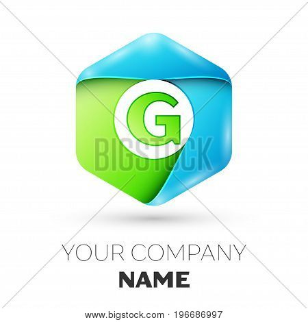 Letter G vector logo symbol in the colorful hexagonal on white background. Vector template for your design