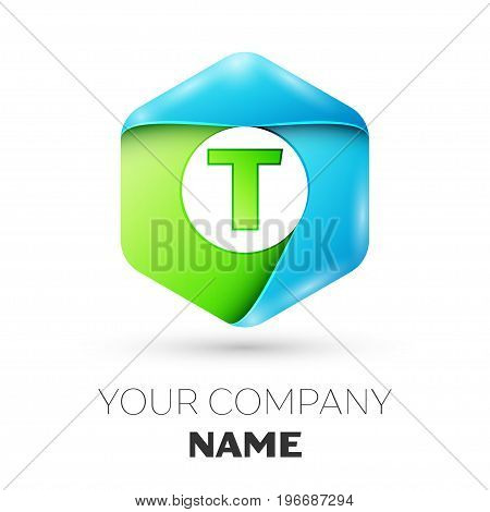 Letter T vector logo symbol in the colorful hexagonal on white background. Vector template for your design