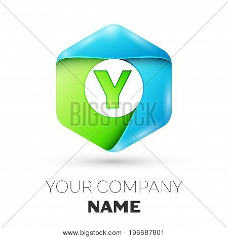 Letter Y vector logo symbol in the colorful hexagonal on white background. Vector template for your design