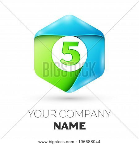 Number five vector logo symbol in the colorful hexagonal on white background. Vector template for your design