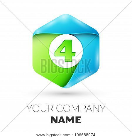 Number four vector logo symbol in the colorful hexagonal on white background. Vector template for your design