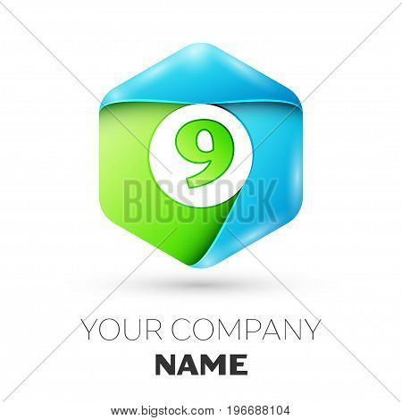 Number nine vector logo symbol in the colorful hexagonal on white background. Vector template for your design