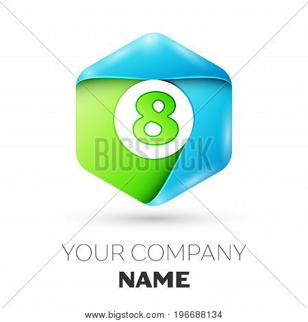 Number eight vector logo symbol in the colorful hexagonal on white background. Vector template for your design