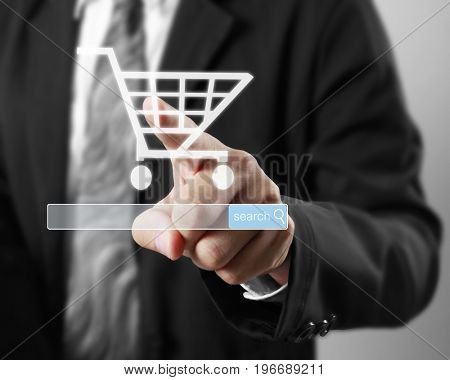 Hand touch virtual icon of shopping social network