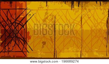 Abstract background. Abstract symbols. Abstract patterns. Red and yellow background. Symbol. Pattern. Ornament. Art. Artwork. Yellow. Artistic background.