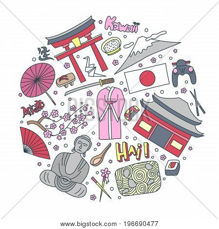 Hand drawn icons with Japan symbols - Kimono sakura flag buddha rice sushi stone garden rice origami geisha. Stickers, pins and patches in line style.