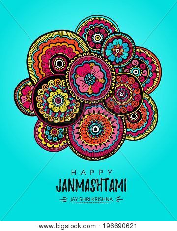 Vector illustration, greeting card, poster or banner for indian festival of Happy Janmashtami celebration. Indian festival Krishna. Indian floral ornament and modern hand drawn lettering.