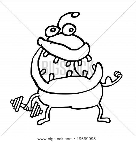 Funny alien monster keeps a dumbbell. Playing sports. Cute cartoon character. Vector illustration.