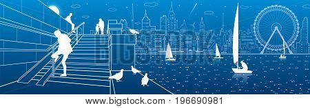Stairs at the river embankment, people on steps. Yachts on the water. Doves are sitting parapet. Evening city in the background. Ferris wheel. vector design art