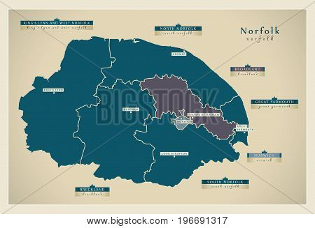 Modern Map - Norfolk County With District Labels And Cities Uk Illustration