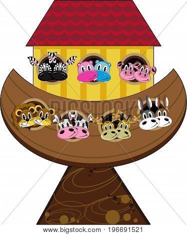 Cute Cartoon Noah's Ark and Animals Biblical Illustration