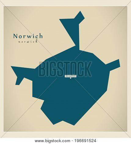 Modern Map - Norwich District Of Norfolk England Uk Illustration