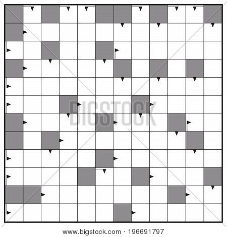 Crossword - blank crossword puzzle pattern, square format template, to insert any words with one to twelve letters for a clear message, brief heading or explicit information in keywords.
