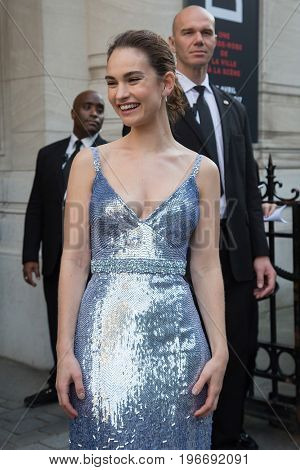 PARIS, FRANCE - JULY 04:  Lily James attends Vogue Foundation Dinner  as part of Paris Fashion Week  Haute Couture Fall/Winter 2017-2018 July 4, 2017  Paris, France