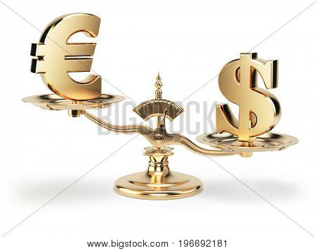 Scale with symbols of currencies euro and US dollar isolated on white background. 3d illustration