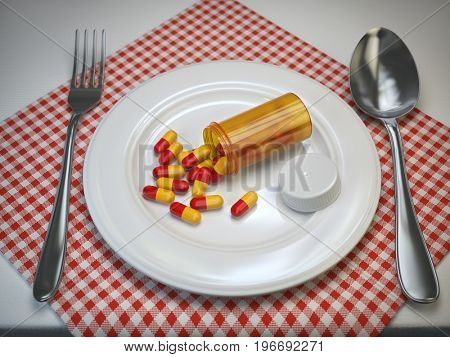 Pils in the plate with fork and spoon. Pharmacy diet nutrition concept. 3d illustration