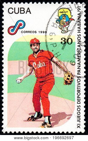 UKRAINE - CIRCA 2017: A postage stamp printed in Cuba shows Baseball from series 11th Pan American Games circa 1990