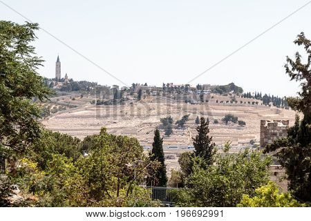 View of the Mount of Olives Jerusalem Cemetery from the Dung Gate in the old tow in Jerusalem Israel