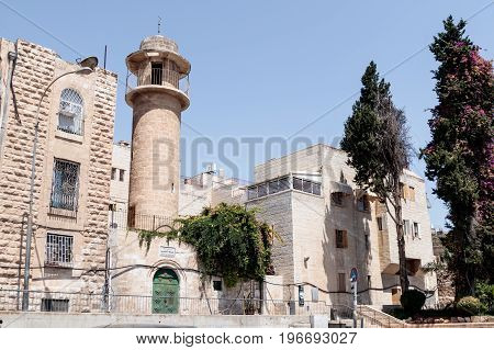 Silent streets  in the old city of Jerusalem Israel. Habad Mahase street.