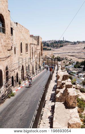 Jerusalem Israel July 14 2017 : Silent streets in the old city of Jerusalem Israel. Batei Mahase street.