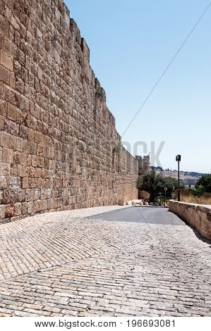Fragment of the fortress walls near to the Zion Gate in the old town in Jerusalem Israel