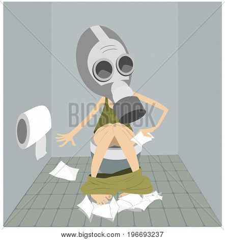 Man or a woman with diarrhea (food poisoning) sitting in the toilet. Man or a woman in the gas mask sitting in the toilet and using a lot of tissue