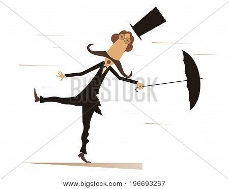 Cartoon man, umbrella and windy day isolated. Funny mustache man in the top hat stands on the wind and tries to keep an umbrella