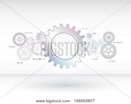 Abstract mechanical background with gear and technology elements. Hi-tech digital communication concept. Modern vector illustration eps 10