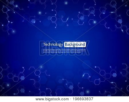 Hi-tech computer technology. Abstract circuit concept on the blue color background. Communication modern illustration with various technological elements.