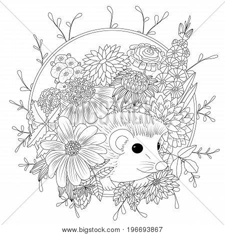 Vector illustration hedgehog with flowers. Coloring book anti stress for adults. Black and white.
