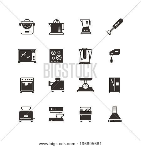 Kitchen appliances vector silhouette icons isolated. Kitchen equipment refrigerator and coffee machine, dishwasher and toaster illustration
