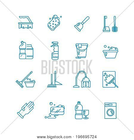 Cleaning and washing house outline vector icons. Antiseptic service line symbols. Equipment for cleanup linear style illustration