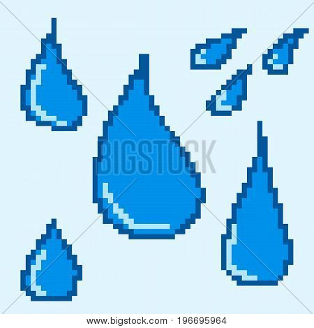 Isolated water drops of blue color for the design of computer and mobile games. Set of pixel icons