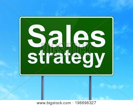 Marketing concept: Sales Strategy on green road highway sign, clear blue sky background, 3D rendering