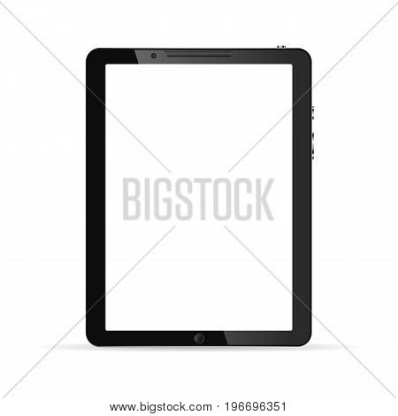 Modern touch screen tablet computer isolated on white background. Tablet computer with white screen. Vector illustration.