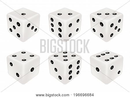 A set of a white dice three dimensions