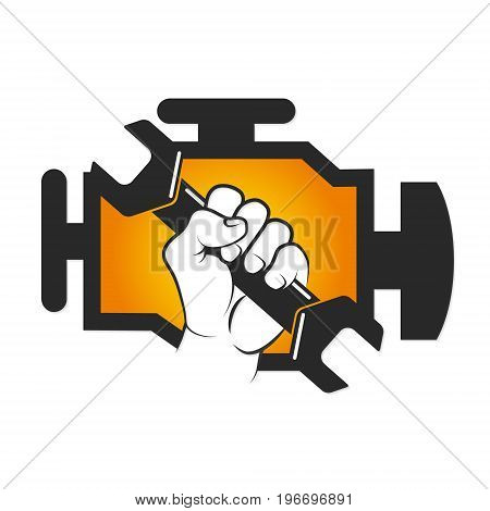 Car engine repair wrench in hand vector