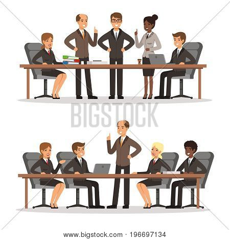 Business character at the table in conference hall. Man and woman in rich costume. Vector illustrations set of business conference and briefing with workgroup