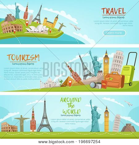 Vector design of three horizontal banners of travel illustrations and world landmarks. Pictures with place for your text. Landmark world on travel banner