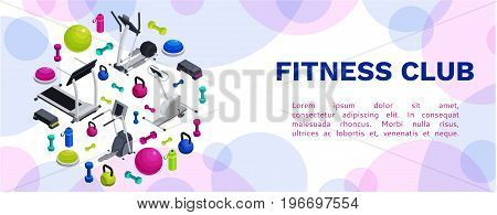 Isometric fitness banner with vector icons of sports equipment, colorful background with dumbells,  platforms, bosu ball or half ball, bottle, set of workout accessories, template for flyer, poster