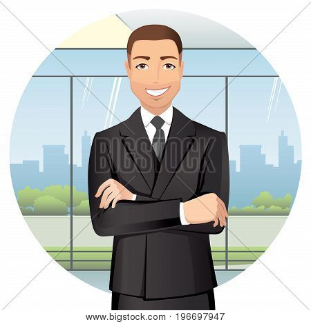Business man standing in office, smiling. Handsome man in suit isolated on white background. Flat design. Vector cartoon illustration