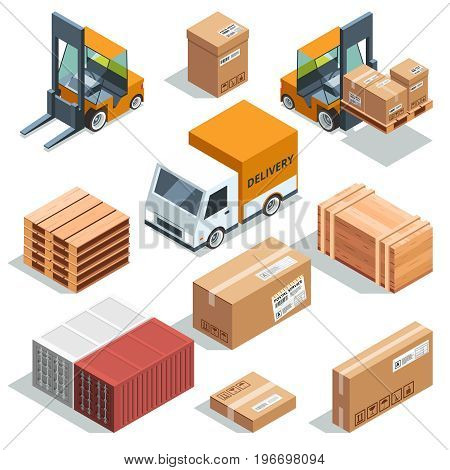 Isometric industry machine for lading, freight and different boxes and pallets. Illustration of logistic and delivery, distribution and shipment