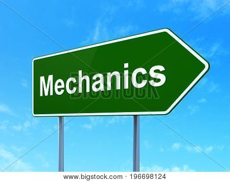 Science concept: Mechanics on green road highway sign, clear blue sky background, 3D rendering