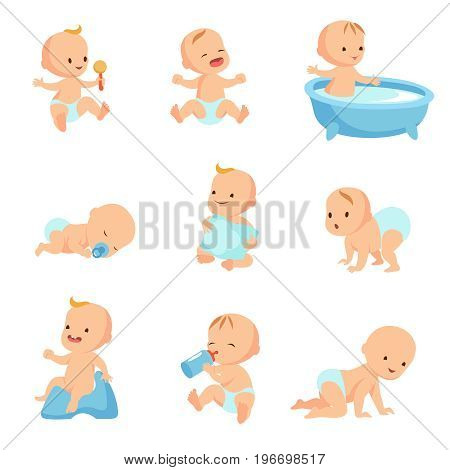 Happy smiling baby. Cute cartoon toddlers vector set. Child happy, infant baby toddler boy and girl illustration