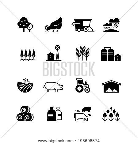 Organic farm and agriculture vector silhouette icons isolated. Agriculture farm silhouette, chicken and livestock illustration