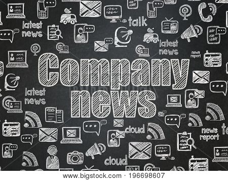 News concept: Chalk White text Company News on School board background with  Hand Drawn News Icons, School Board