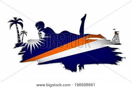 Young woman sunbathing on a beach. Cutout silhouette of the relaxing girl on a grunge brush stroke. Palm and lifeguard tower. Flag of the Marshall Islands on backdrop. 3D rendering.