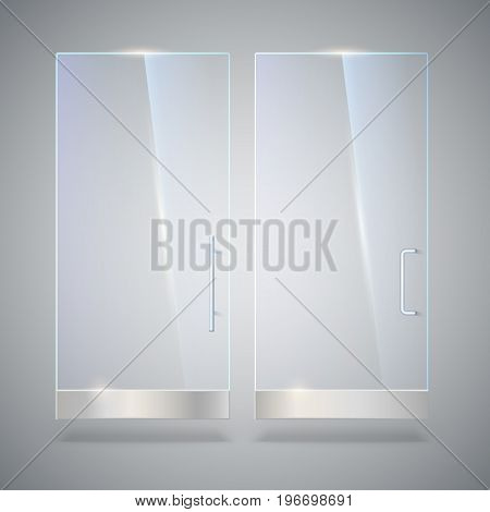 Glass door with reflection and shadows, isolated on grey background. Vector 3D illustration. Transparent glass door, for shop, mall, transparent boutique door, office glass door with metal handles.