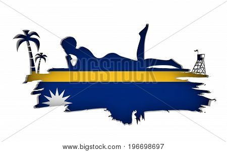 Young woman sunbathing on a beach. Cutout silhouette of the relaxing girl on a grunge brush stroke. Palm and lifeguard tower. Flag of the Nauru on backdrop. 3D rendering.