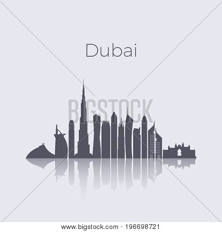 Dubai city modern buildings silhouette vector skyline. Uae emirates landmark cityscape. Building cityscape architecture, illustration of uae city silhouette